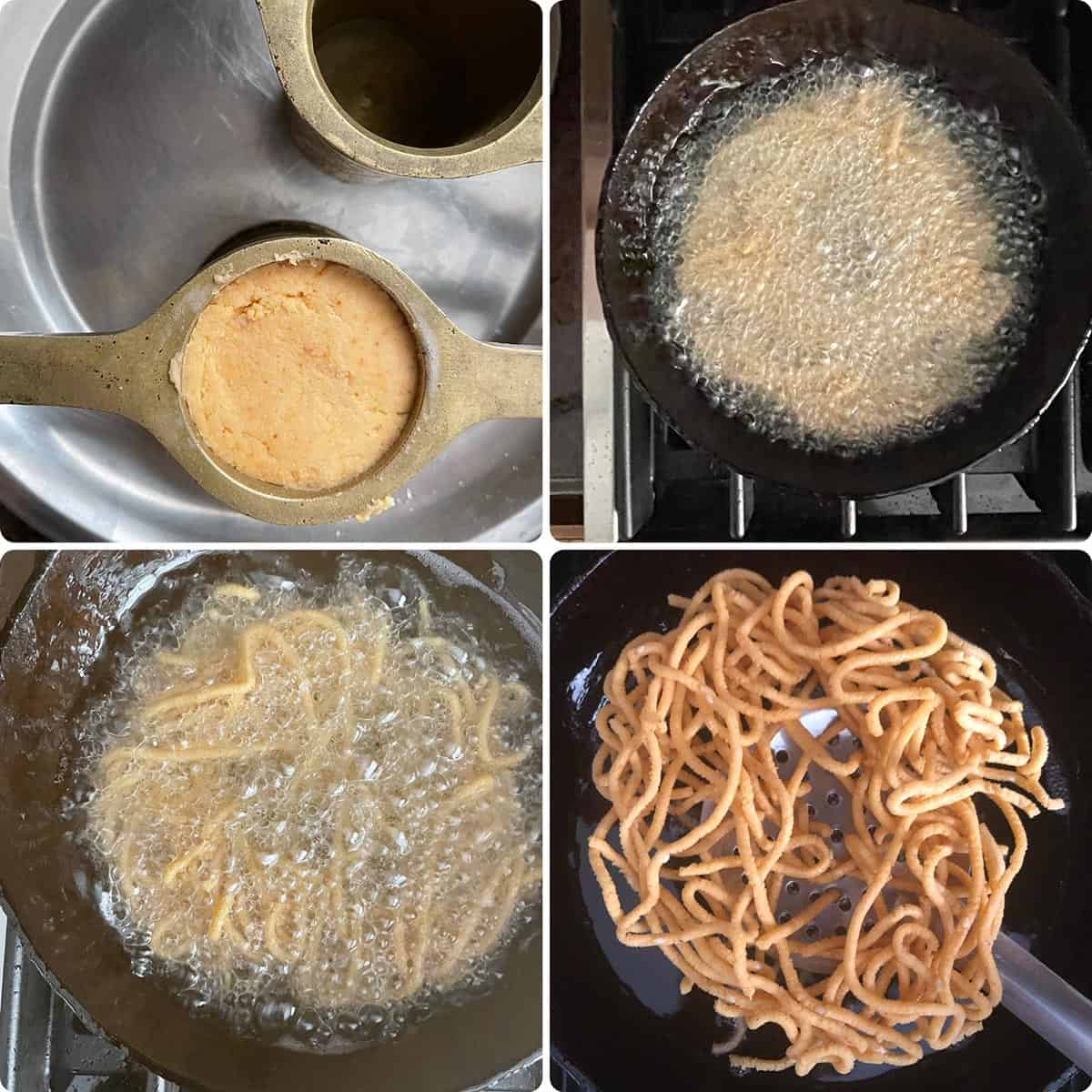 step by step photos showing deep frying o fchakli-details in recipe card
