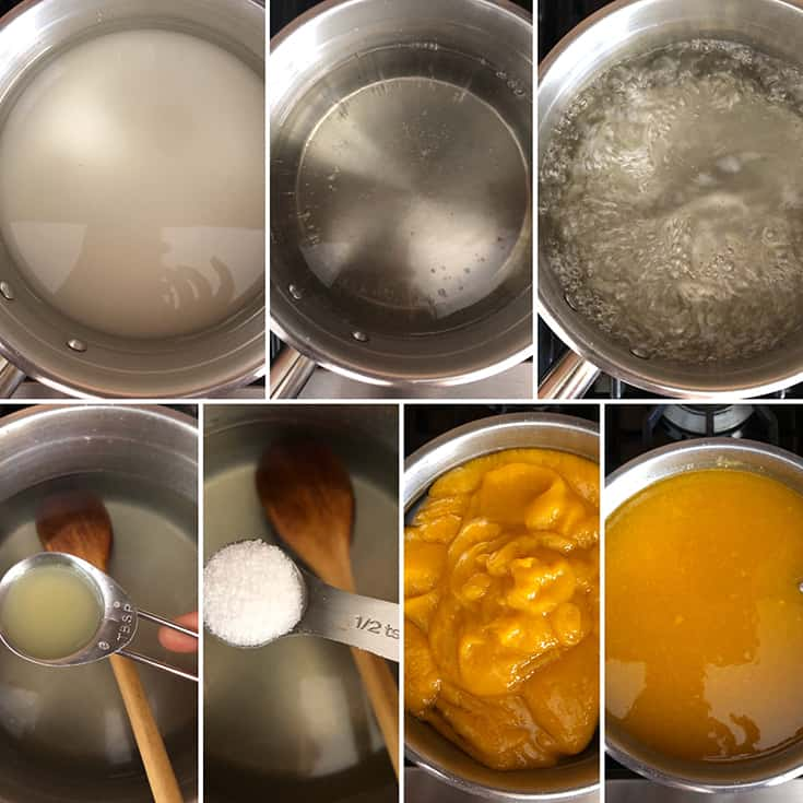 step by step photos showing the making of sugar syrup, adding lemon juice and mango puree and the final mango juice concentrate