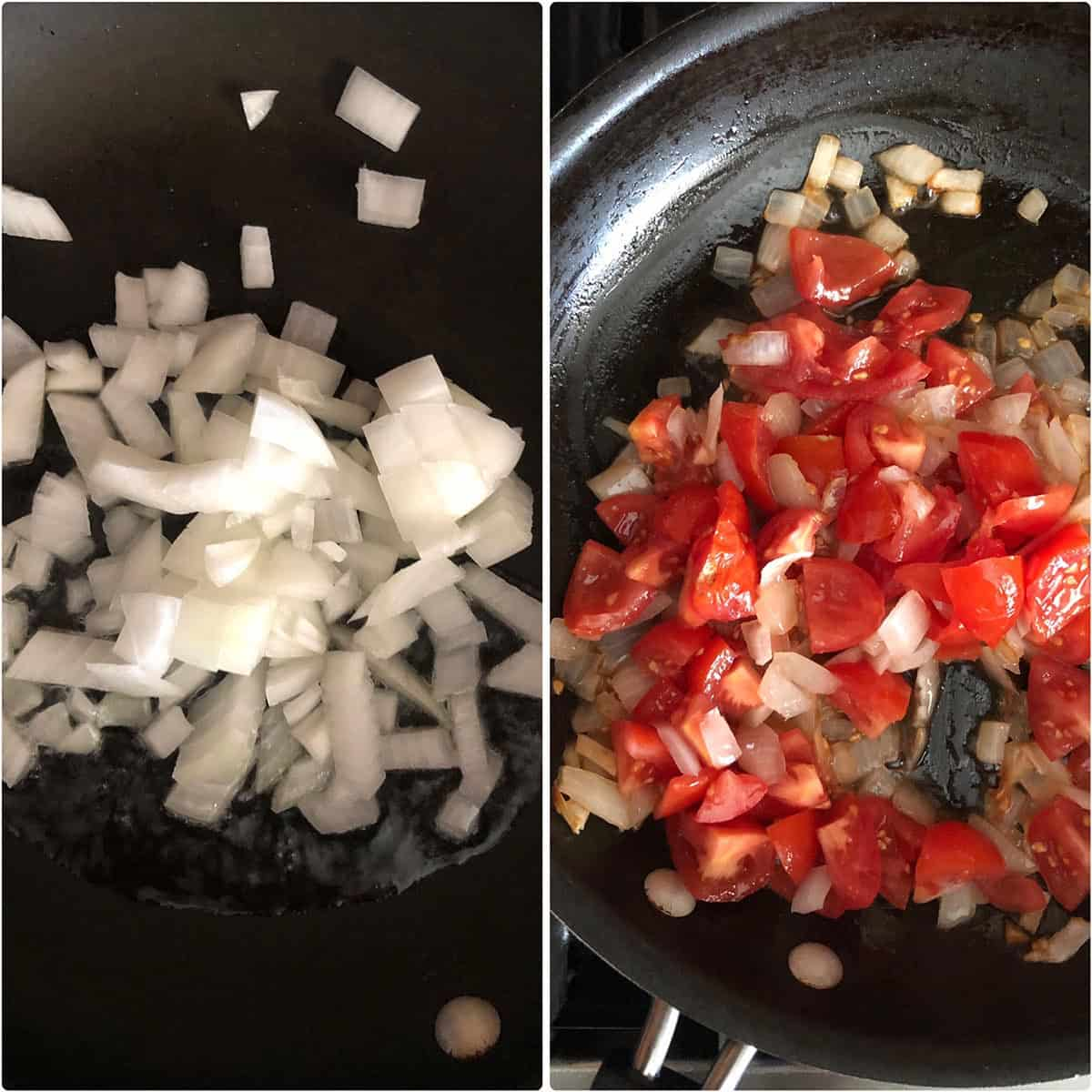 Sauteing onion and tomato for the filling