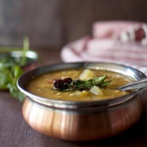 Copper bottom bowl with dosakaya pappu