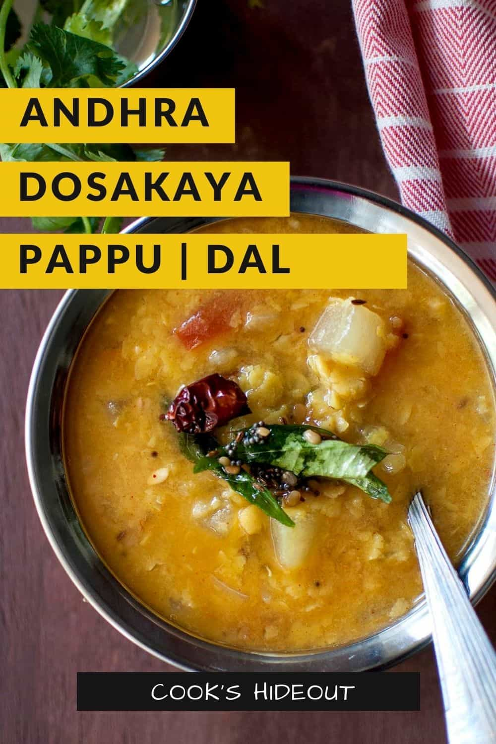Andhra style dosakaya pappu in a round steel bowl
