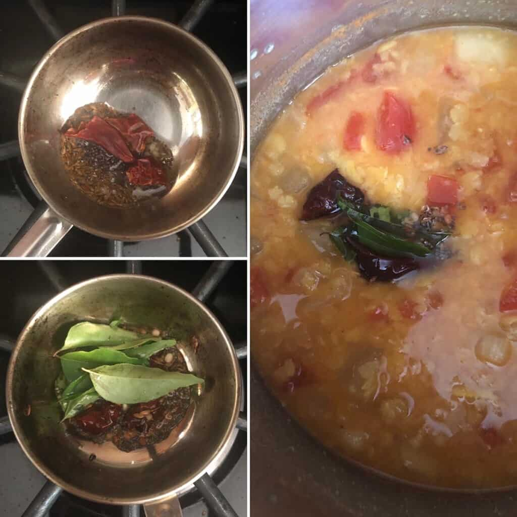 Step by step photos showing the making of tempering and adding to the Instant Pot