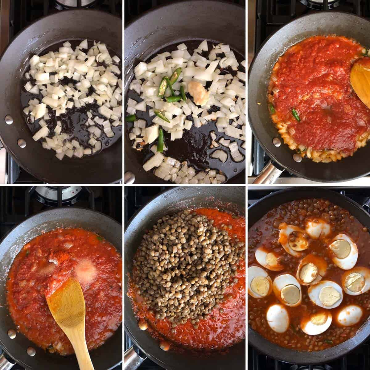 Step by step photos of cooking onions, tomato puree, lentils and eggs
