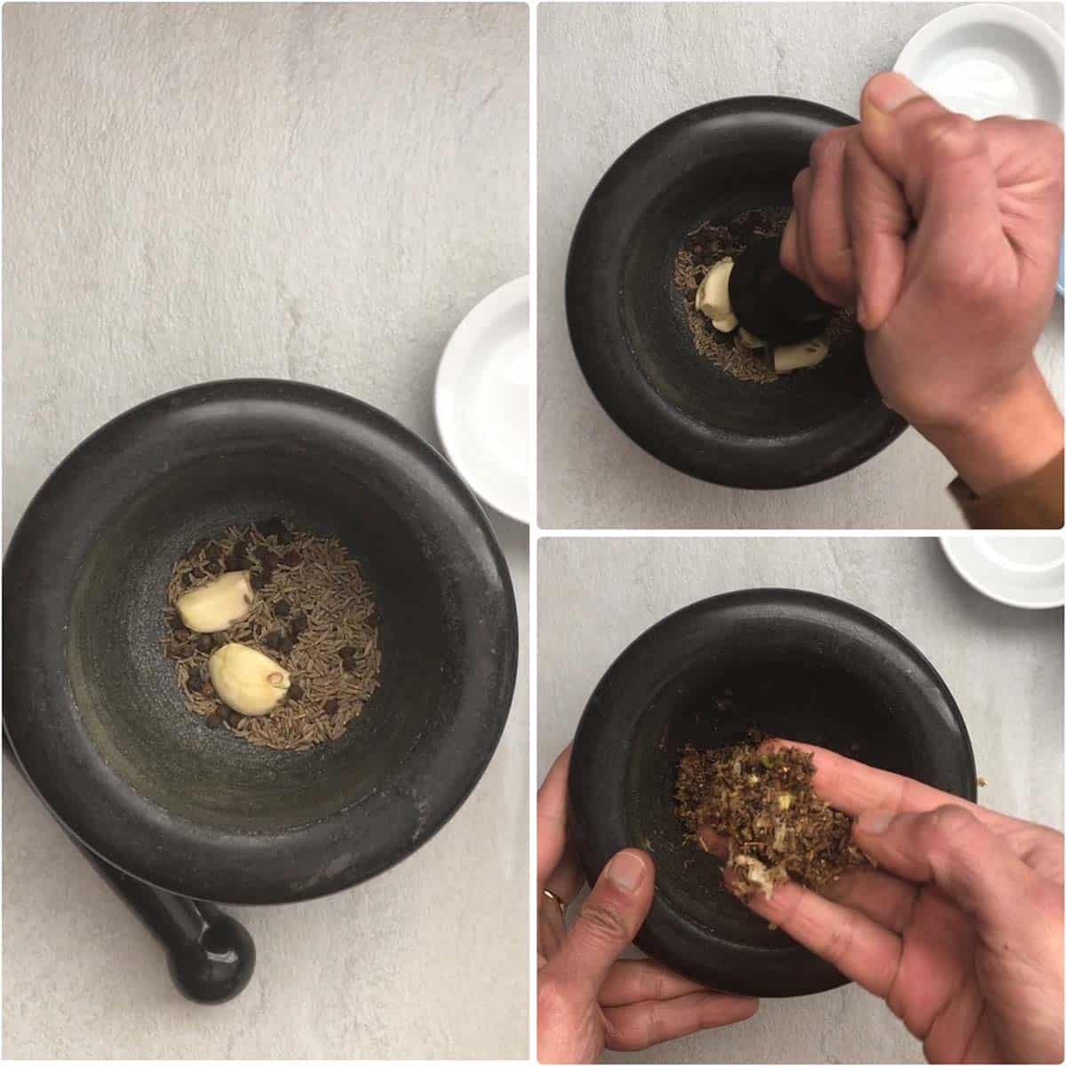 Step by step photos to make fresh spice paste with peppers, cumin seeds and garlic cloves