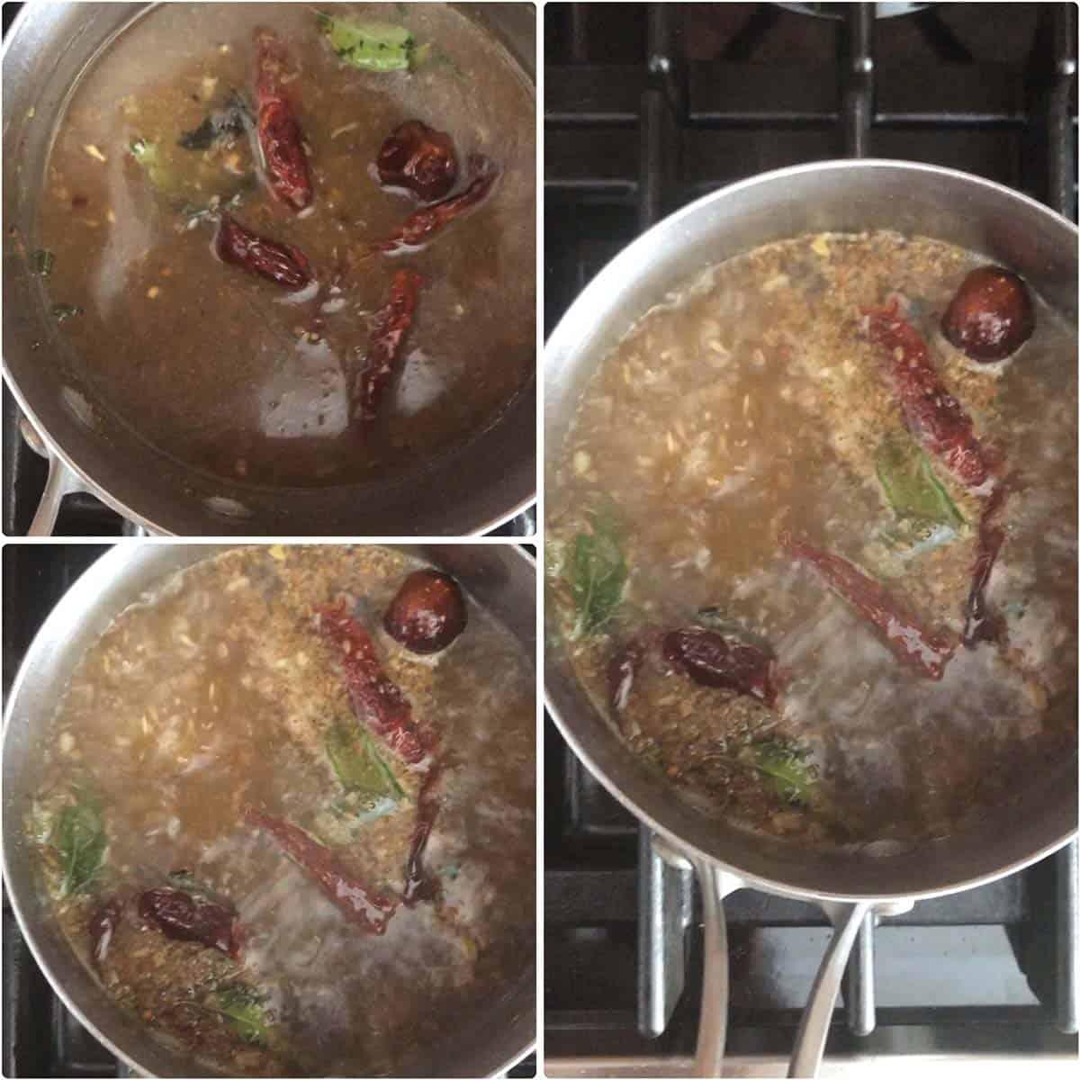 Step by step photos of making milagu rasam