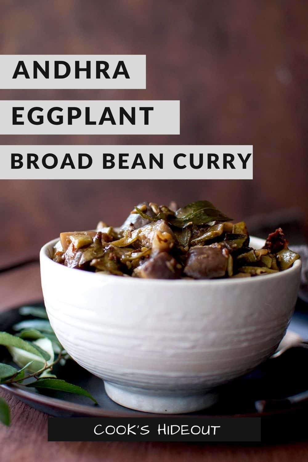 Eggplant broad beans curry in a white bowl