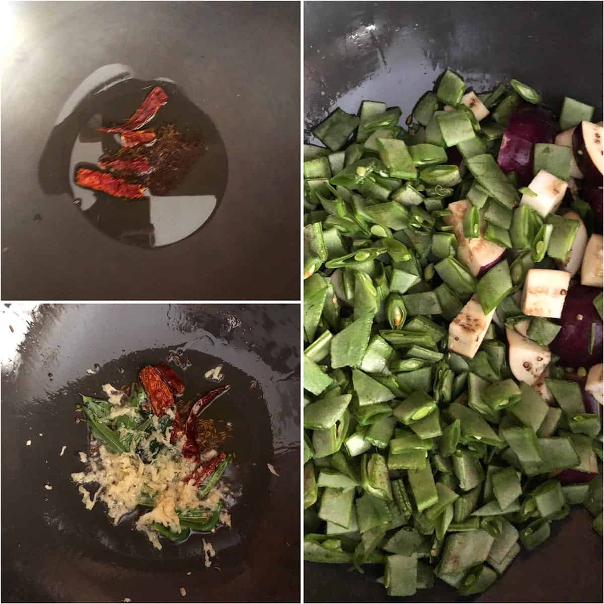 Step by step photo showing the making of tempering and addition of veggies