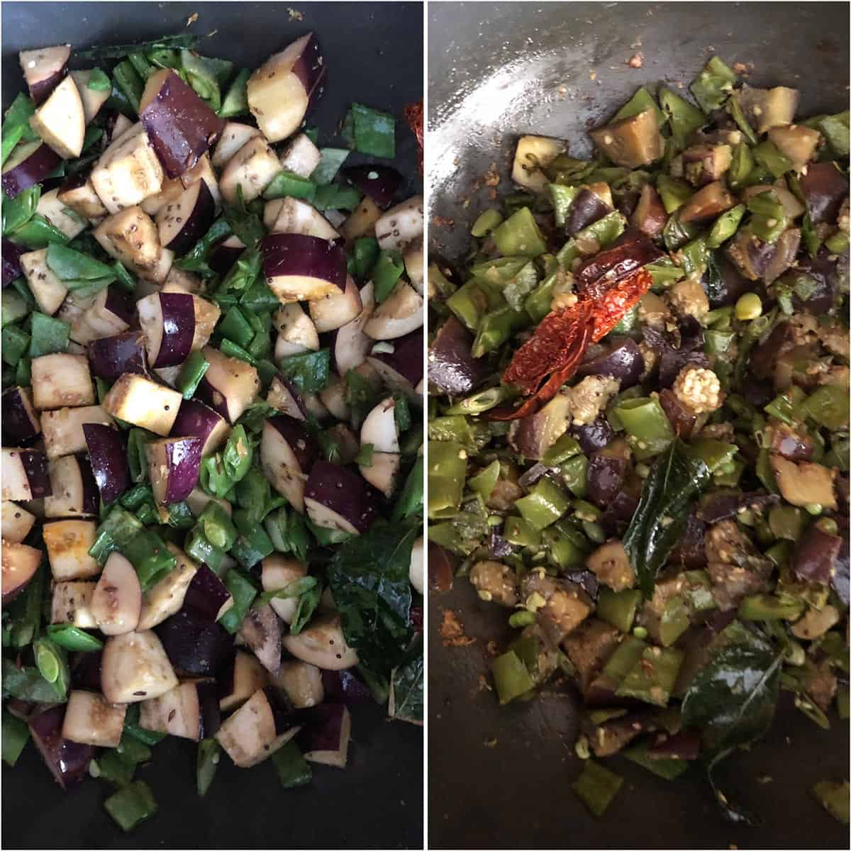 Side by side photos of veggies being cooked