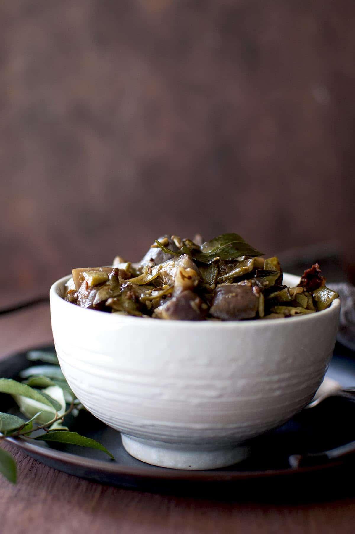 White bowl with vankaya chikkudukaya kura