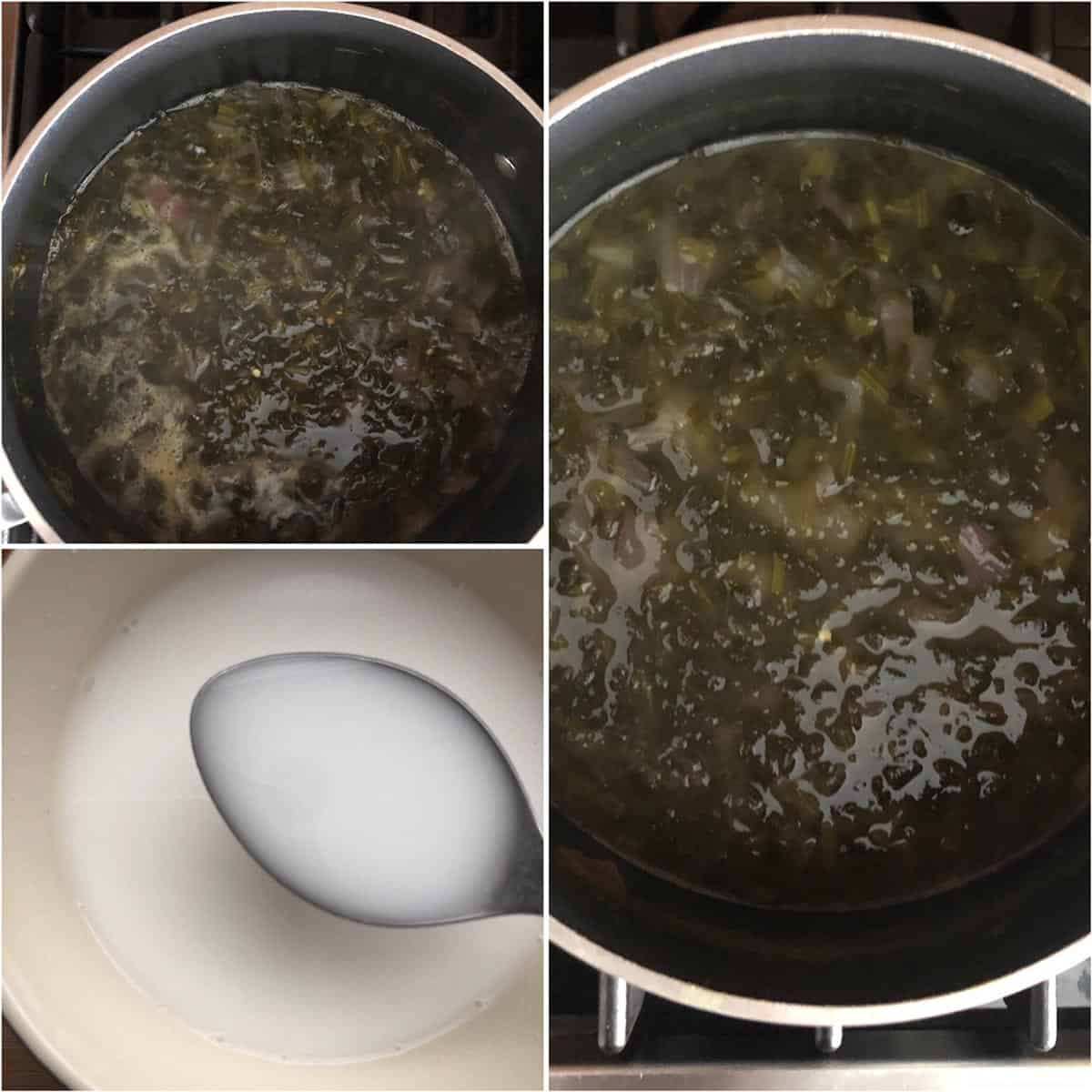 adding rice flour slurry to the pot