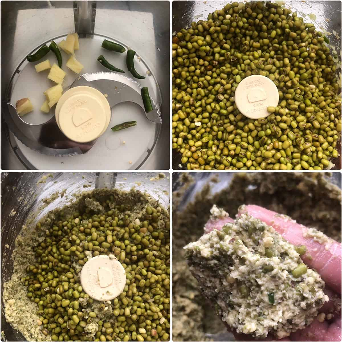 Mung beans being ground to a coarse paste in a food processor along with ginger and green chilies