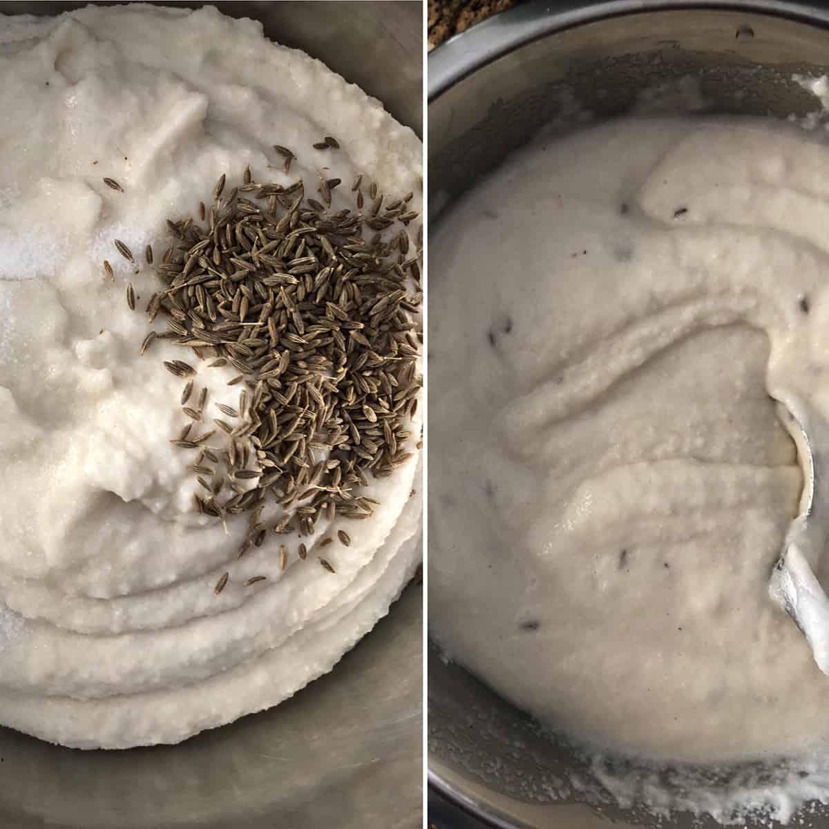 Cumin seeds added to idli batter
