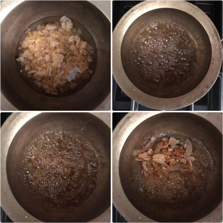 Melting jaggery and making syrup in a pan