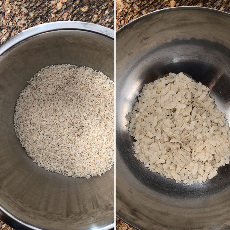 Two steel bowls with rice and flatten bowls