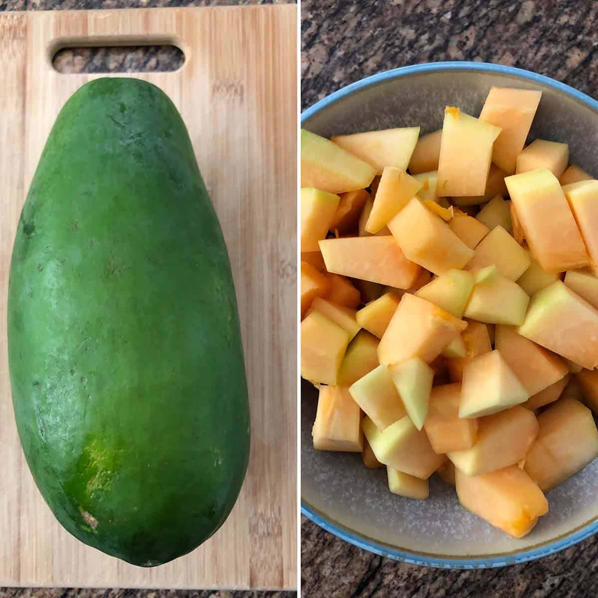 Side by side photos of whole Green papaya and chopped