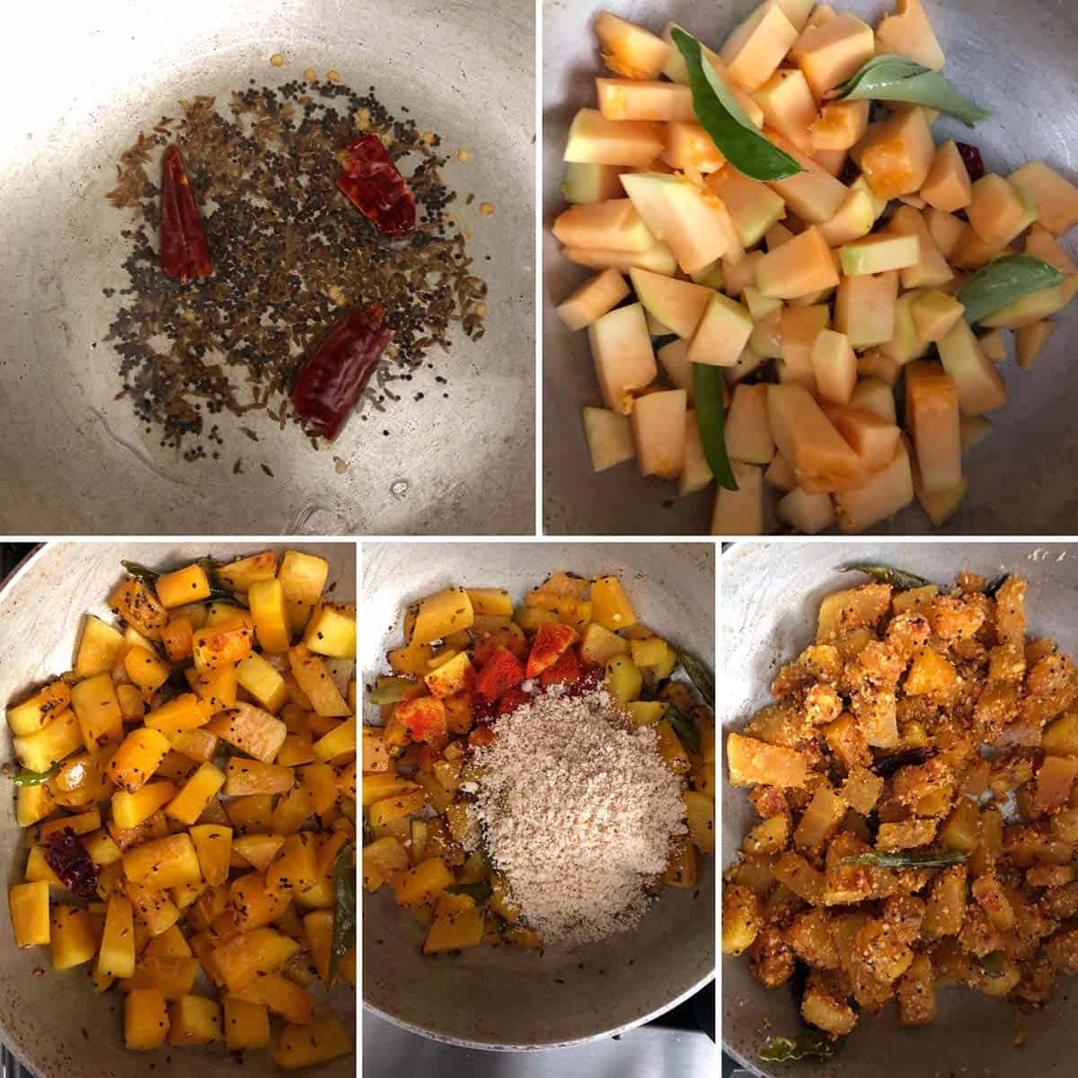 Side by side photos showing the making of the curry