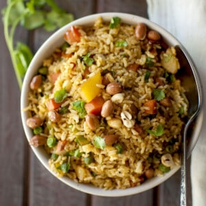 White bowl with mixed vegetable rice