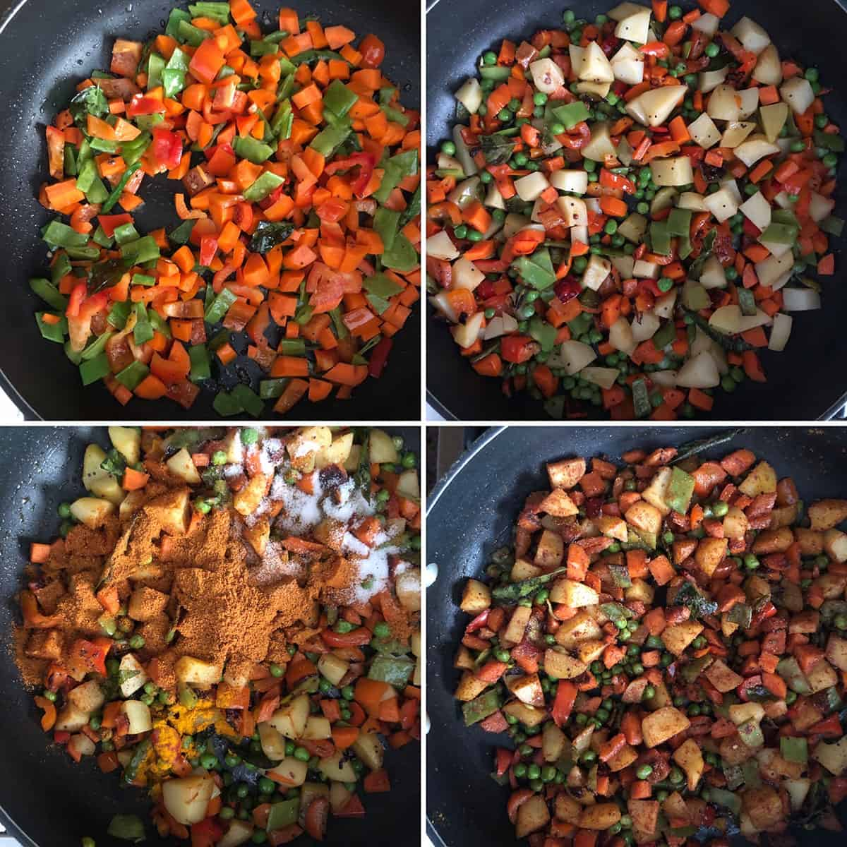 Side by side photos showing the making of the spicy vegetable mixture