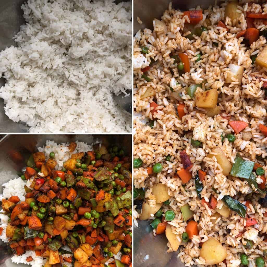 Seasoned mixed vegetables added to cooked rice.