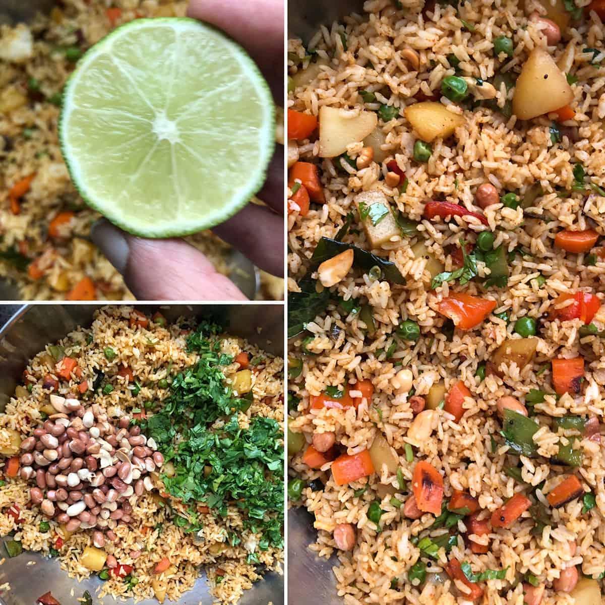 Lemon juice, nuts, chopped cilantro added to vegetable bath