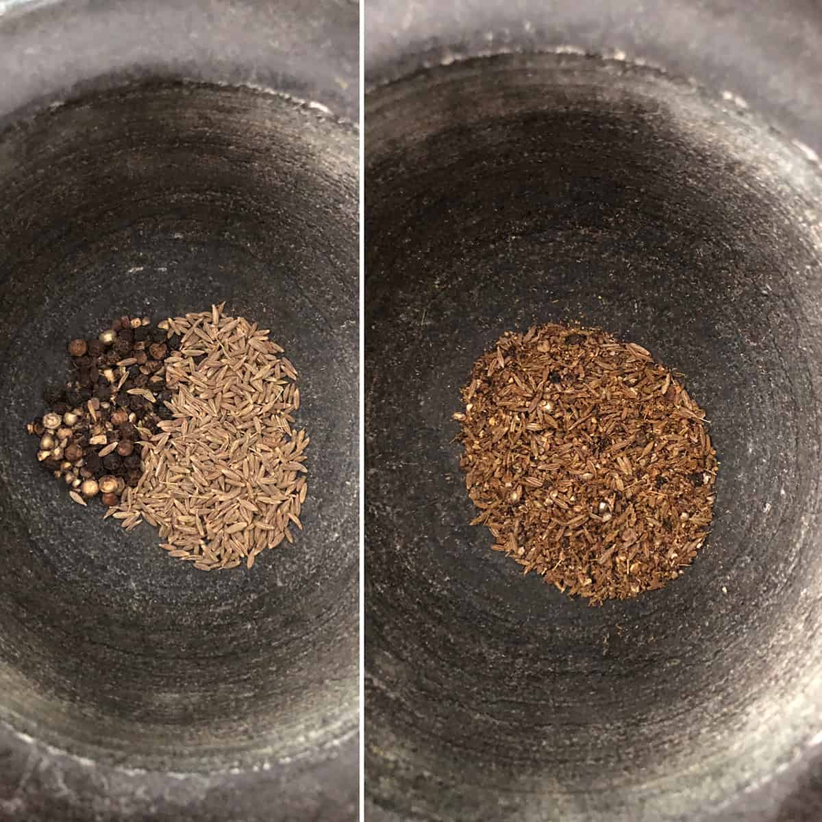 Mortar with peppercorns and cumin seeds ground to coarse powder