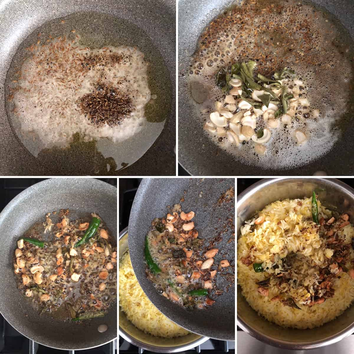 Step by step photos showing the making tempering and adding to pongal
