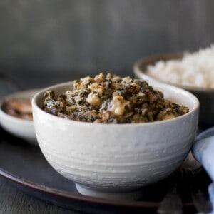 White bowl with Kanda Bachali koora