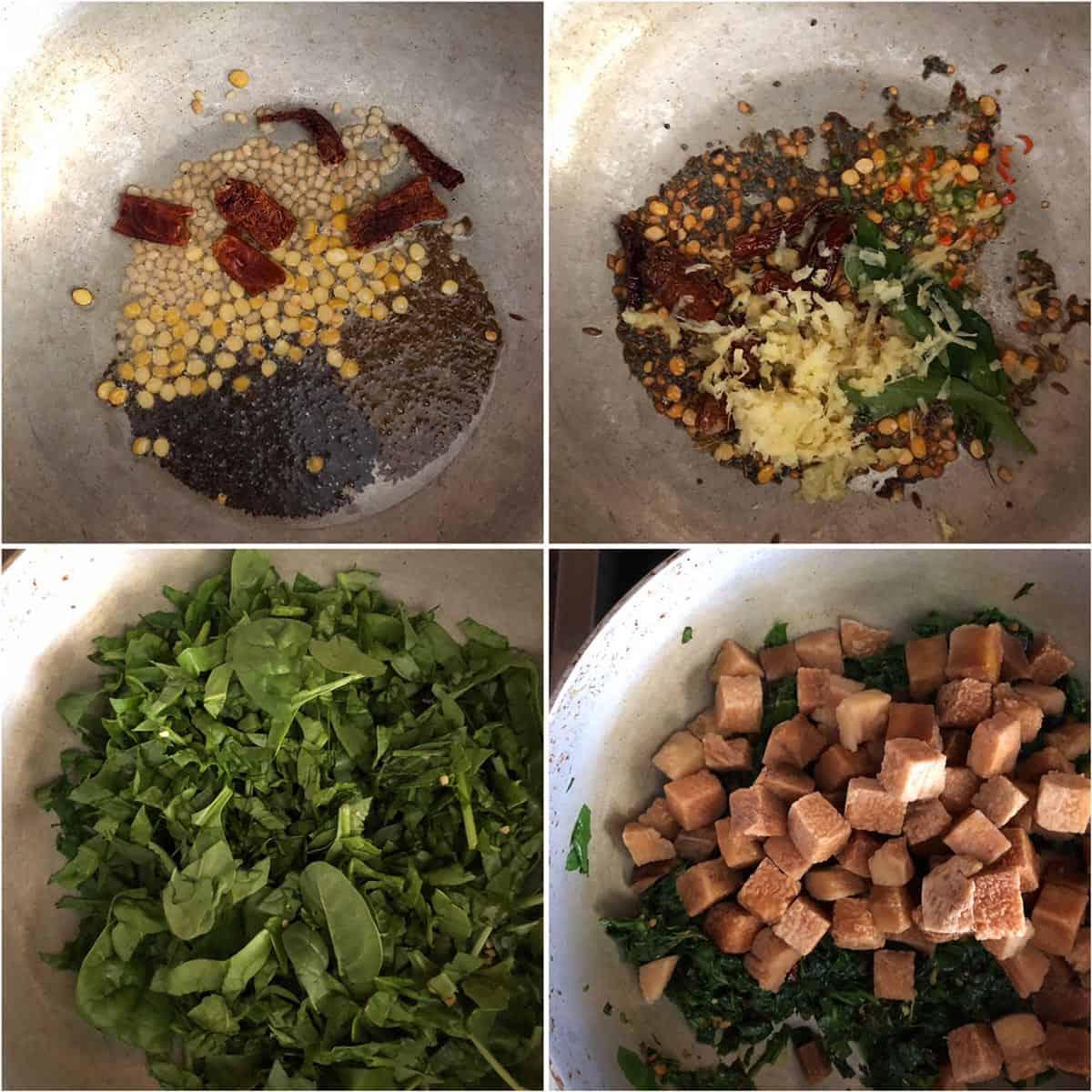 Cooking tempering, bachali kura and kanda in a pan