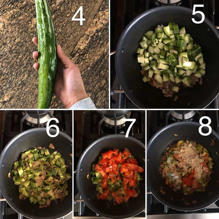 Step by step photos showing fresh snake gourd and cooking with onion and tomatoes