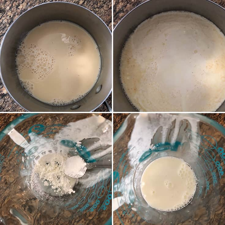 Step by step photos showing heavy cream and evaporated milk being simmered; making cornstarch slurry