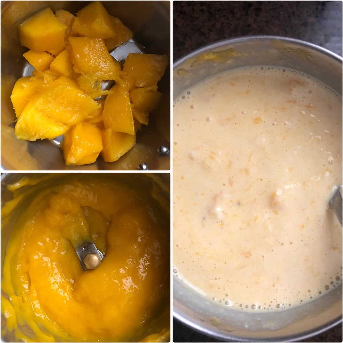 Mango cubes ground to pulp and added to milk mixture