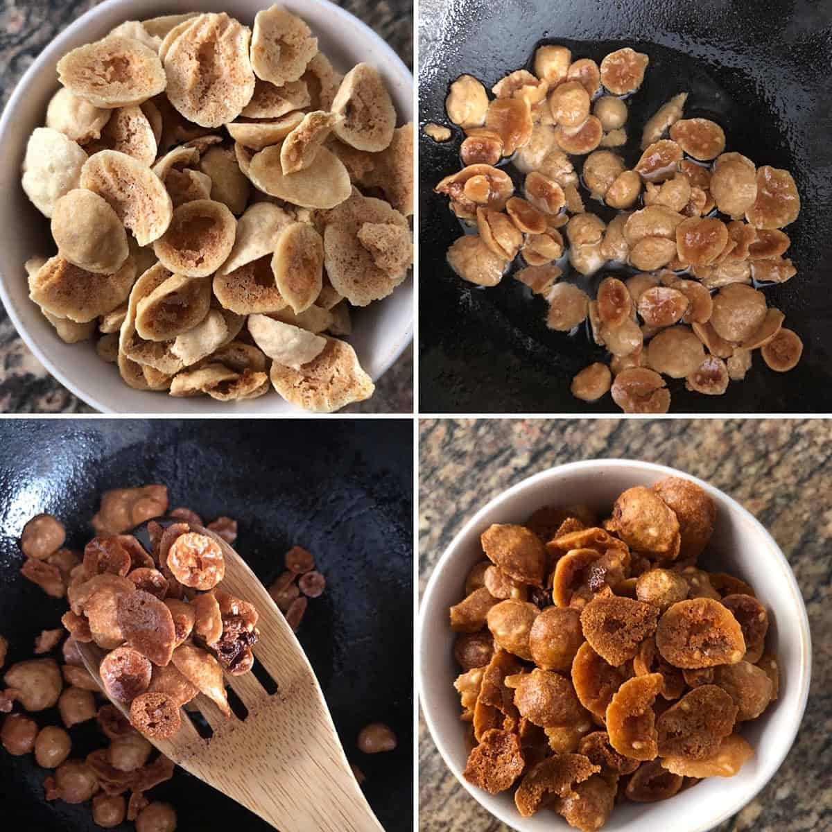 Step by step photos showing frying of lentil dumplings