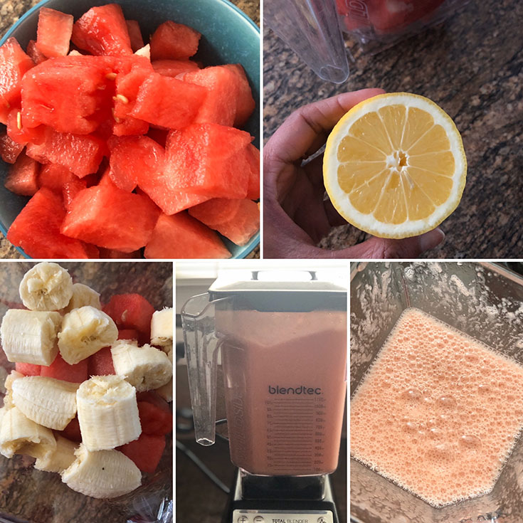 Step by step photos of the making of watermelon juice
