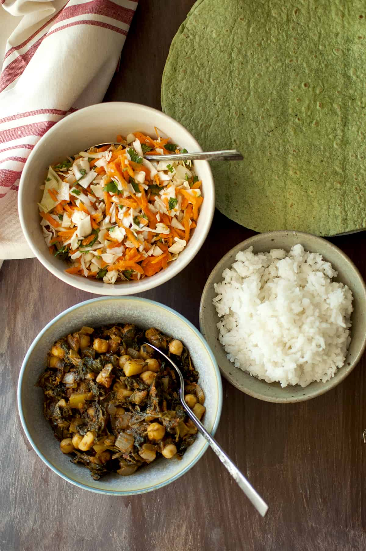 Ingredients needed - spinach tortillas, coleslaw, chickpea-spinach curry and white rice