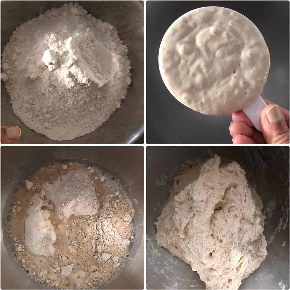 Combining flour and sourdough starter in a mixing bowl