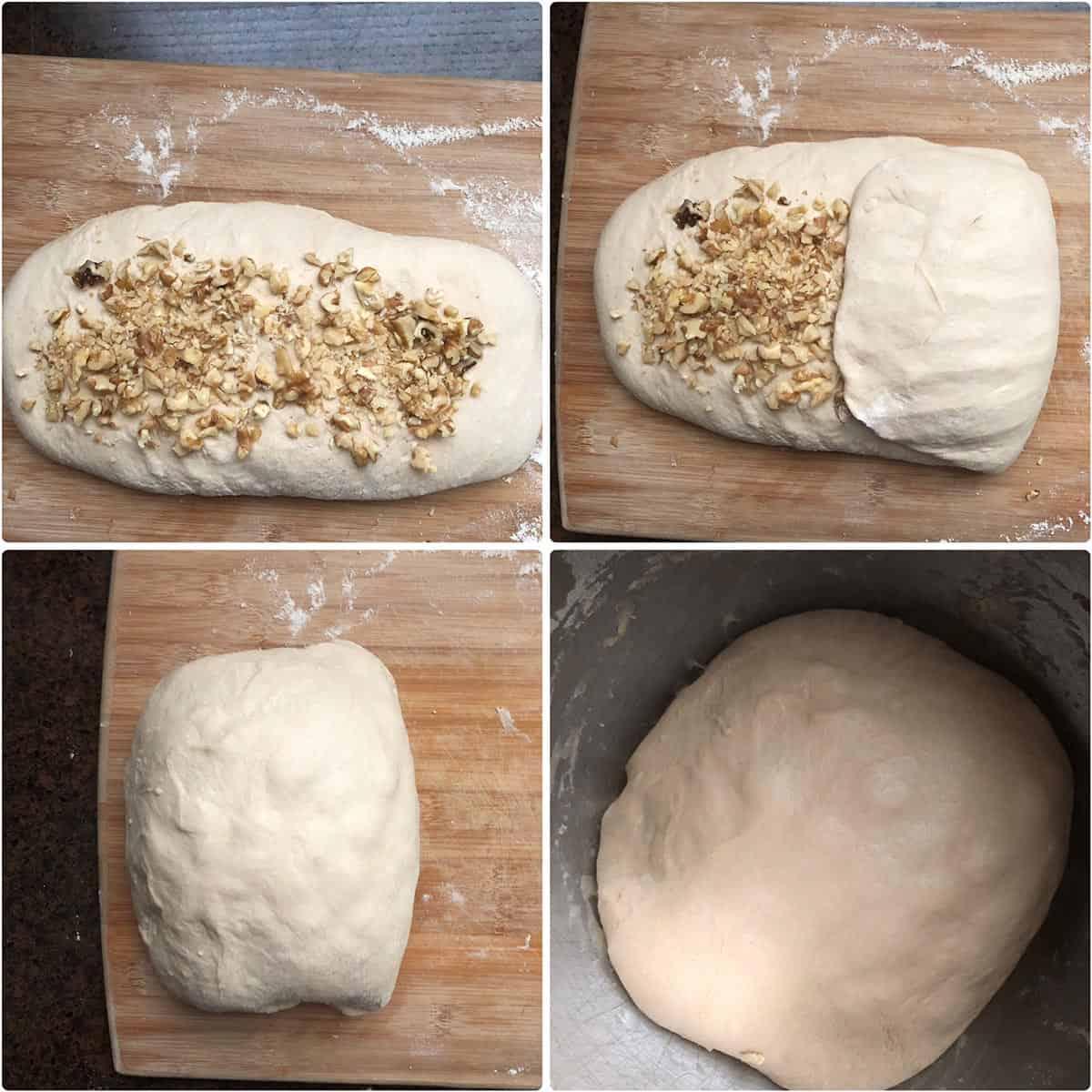 Folding in chopped walnuts into the dough