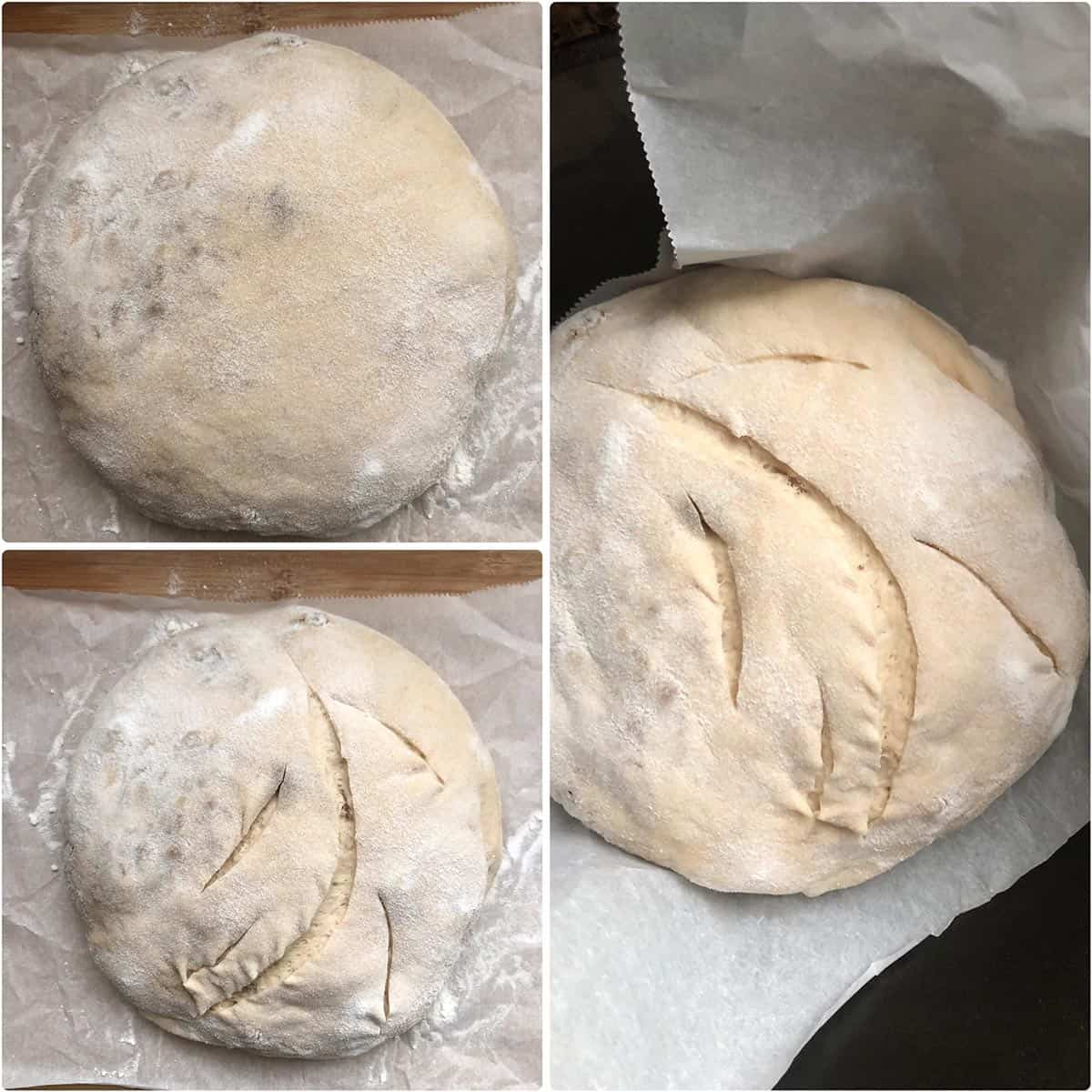 Slicing the bread before baking