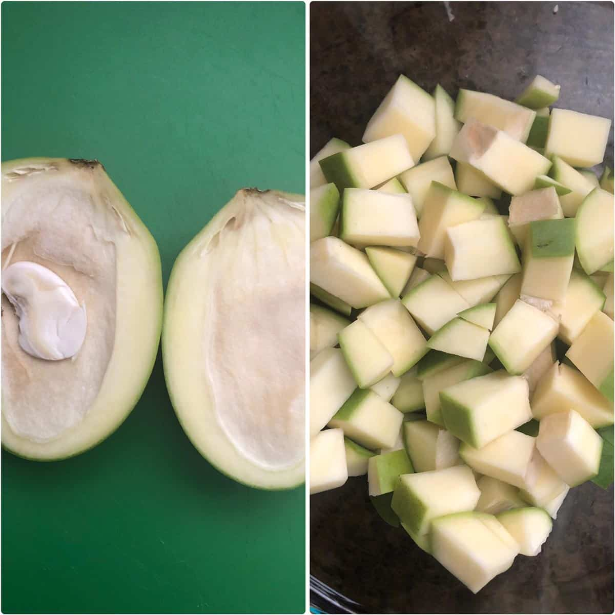 Side by side photos showing halved green mango and diced mango