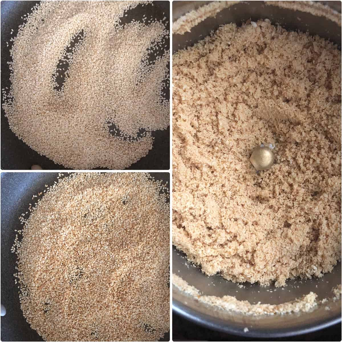 Step by step photos showing roasted and ground sesame seeds