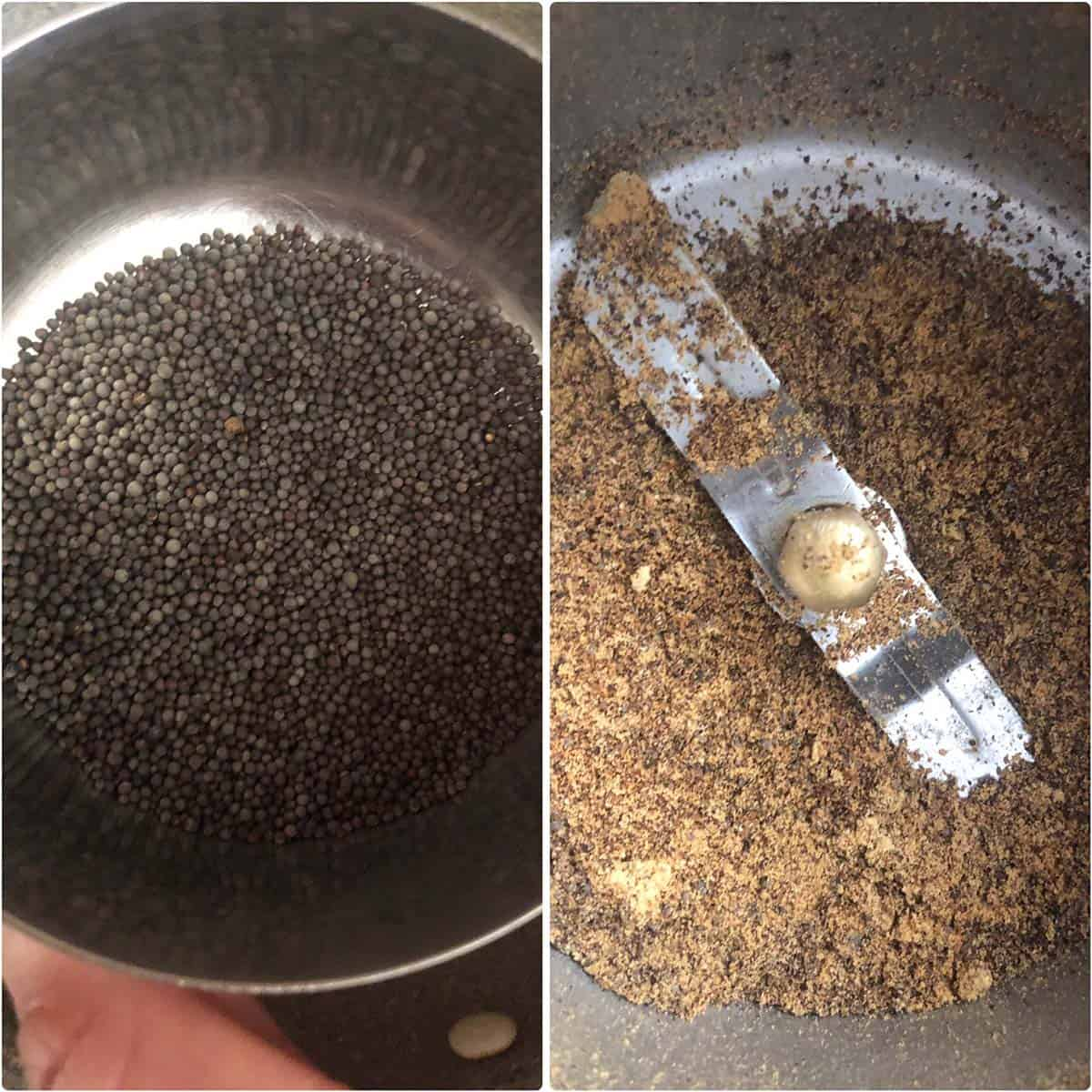 Step by step photos showing roasted and ground mustard seeds