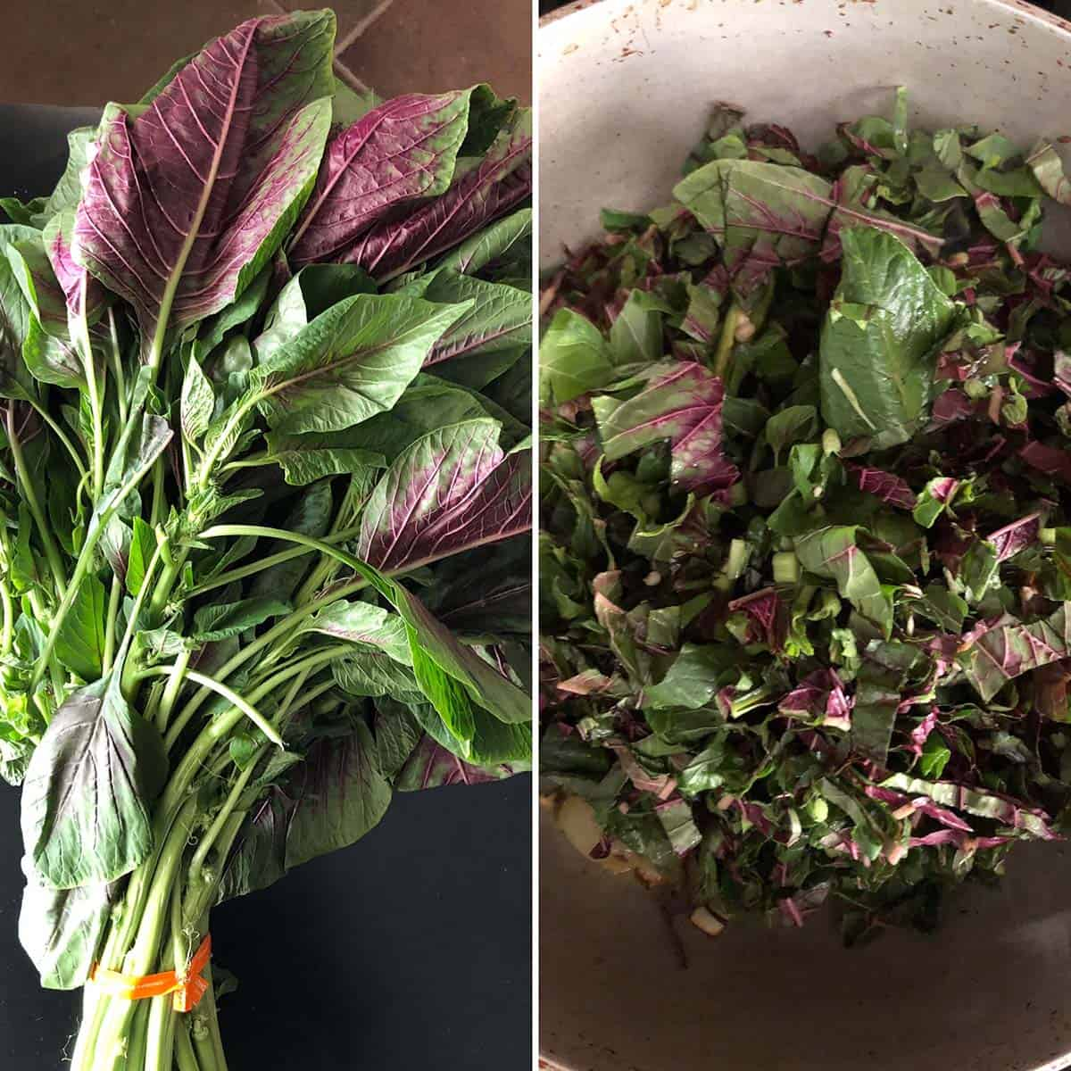 Side by side photos of Bunch of Amaranth greens and chopped greens