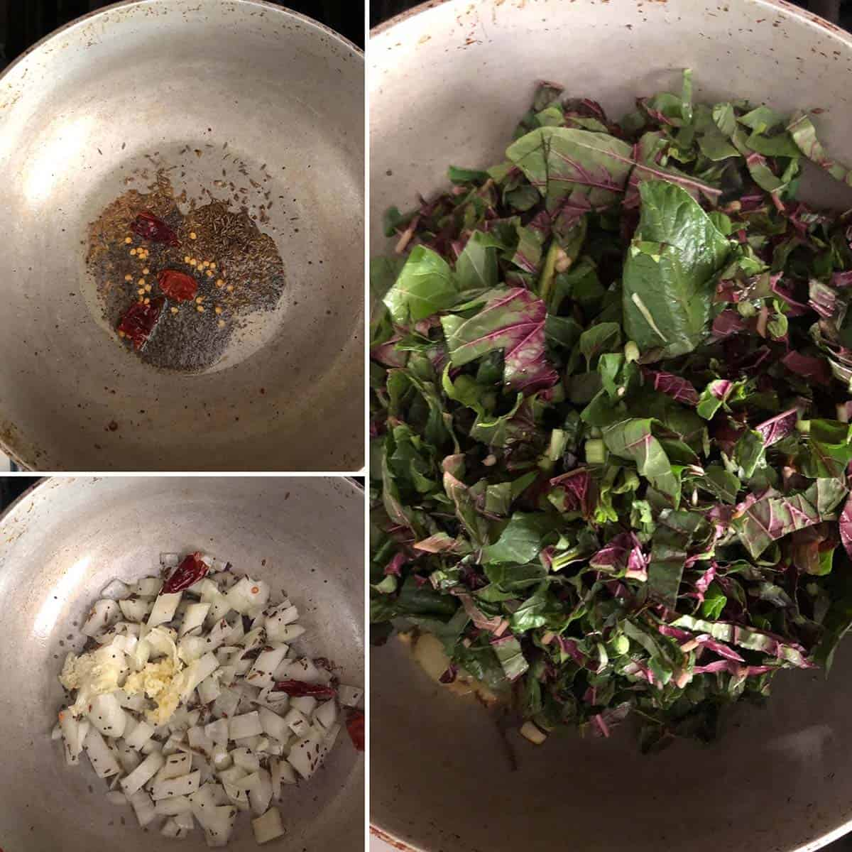Step by step photos showing the cooking of onion, garlic and chopped greens