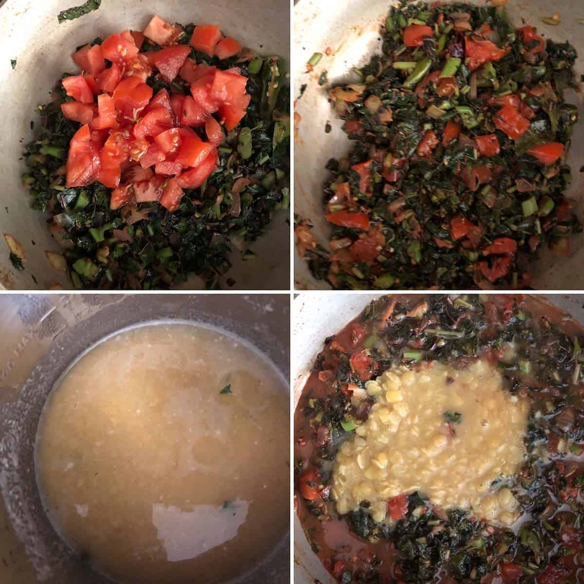 Adding tomatoes, tamarind, cooked dal
