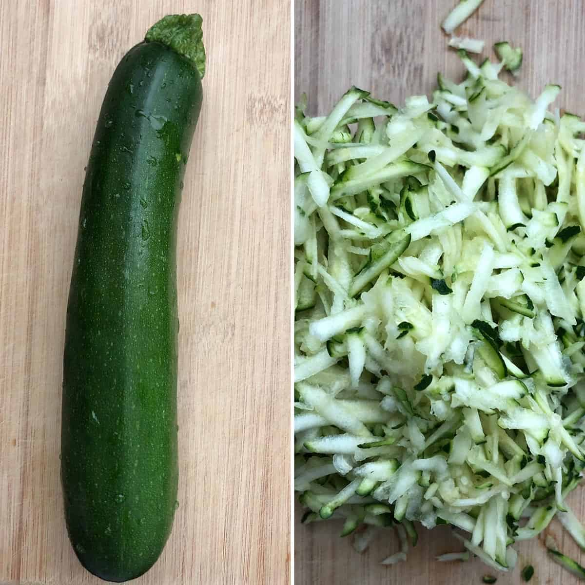 side by side photos of whole zucchini and grated zucchini
