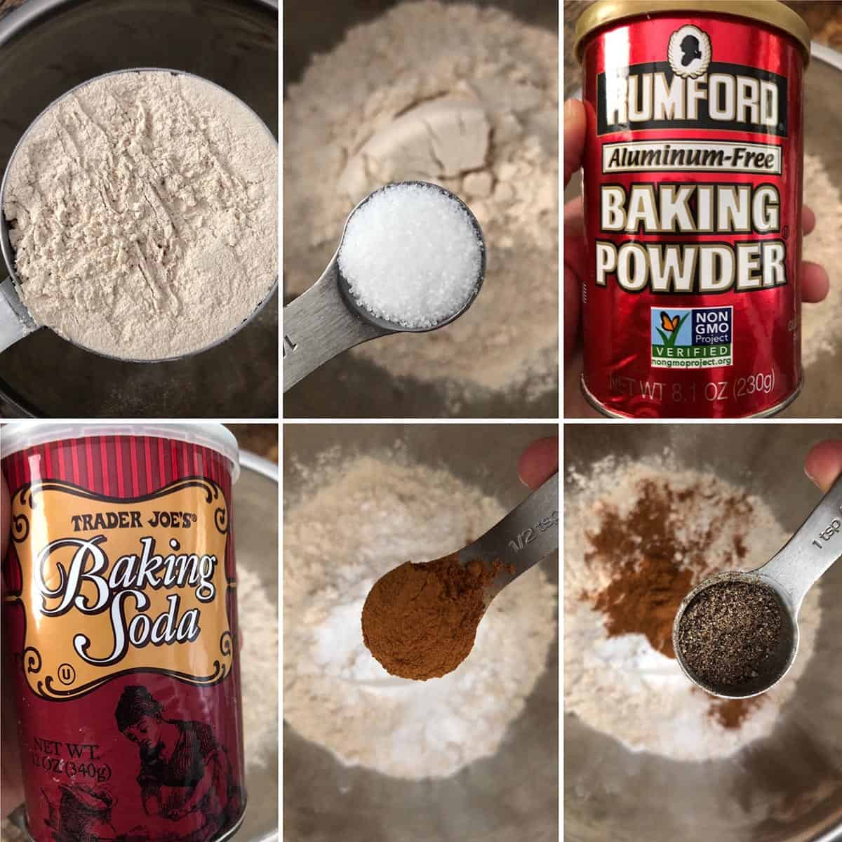 Mixing dry ingredients together in a mixing bowl