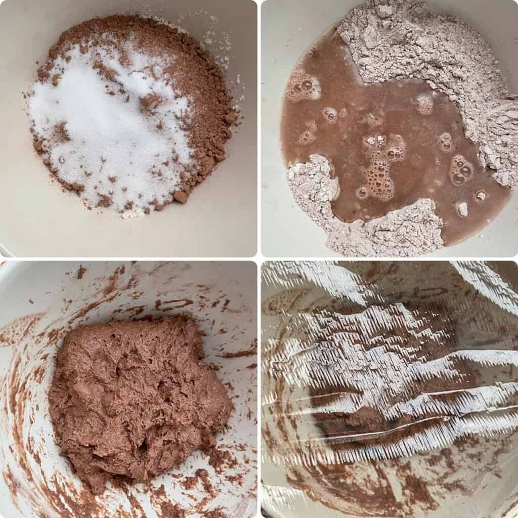 Mixing all the ingredients to make the chocolate sourdough bread