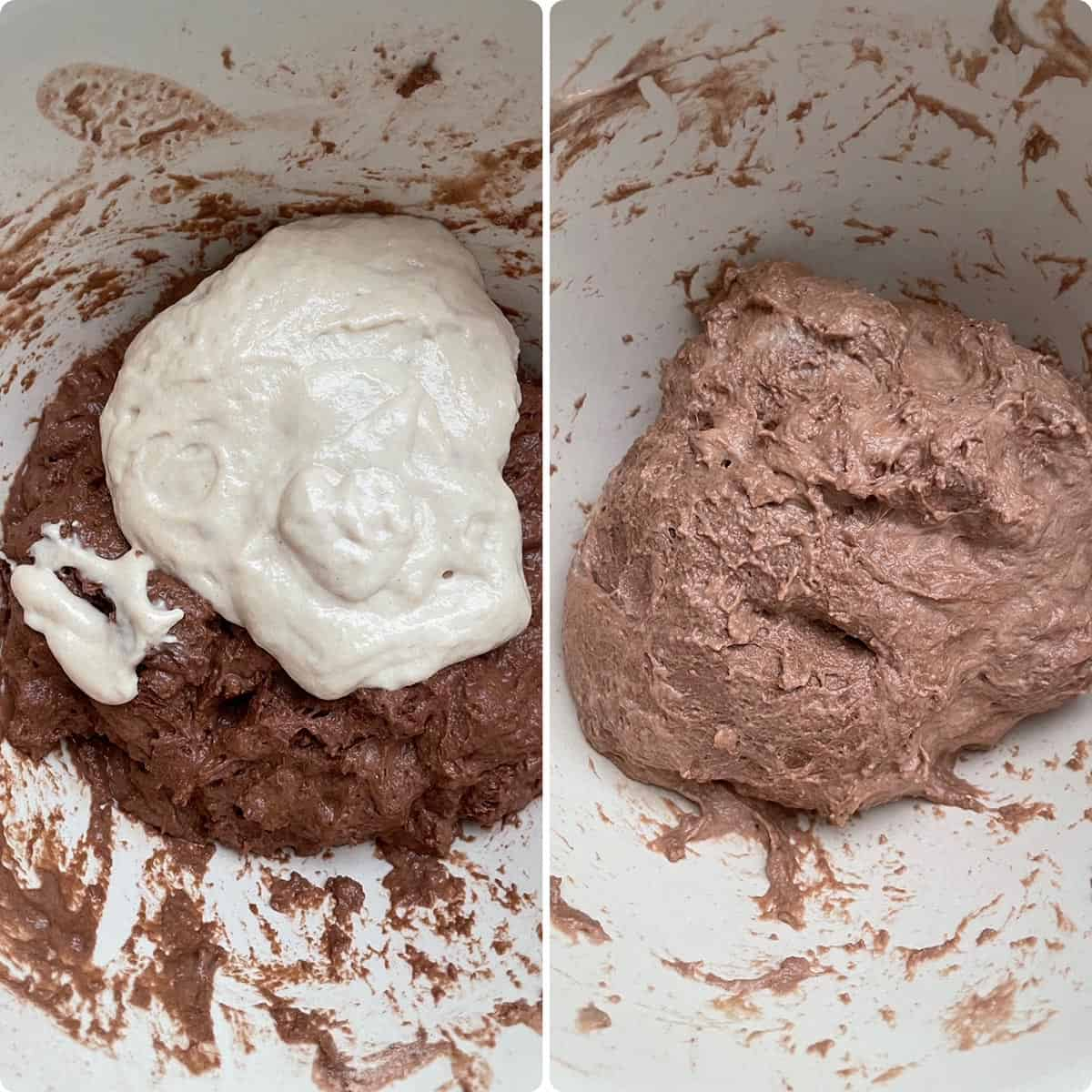 adding starter to the chocolate dough in the bowl