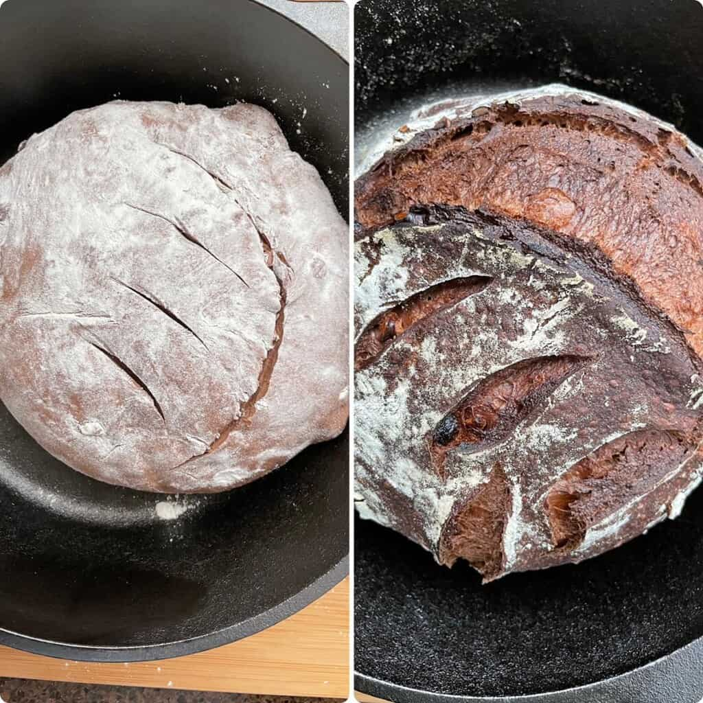 Side by side photos of the bread before and after baking