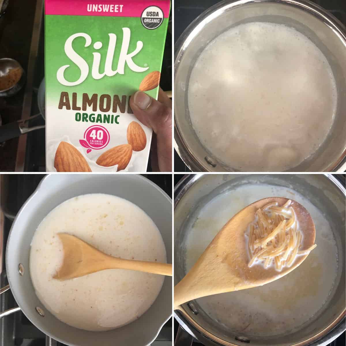 Step by step photos showing boiling almond milk and cooked vermicelli