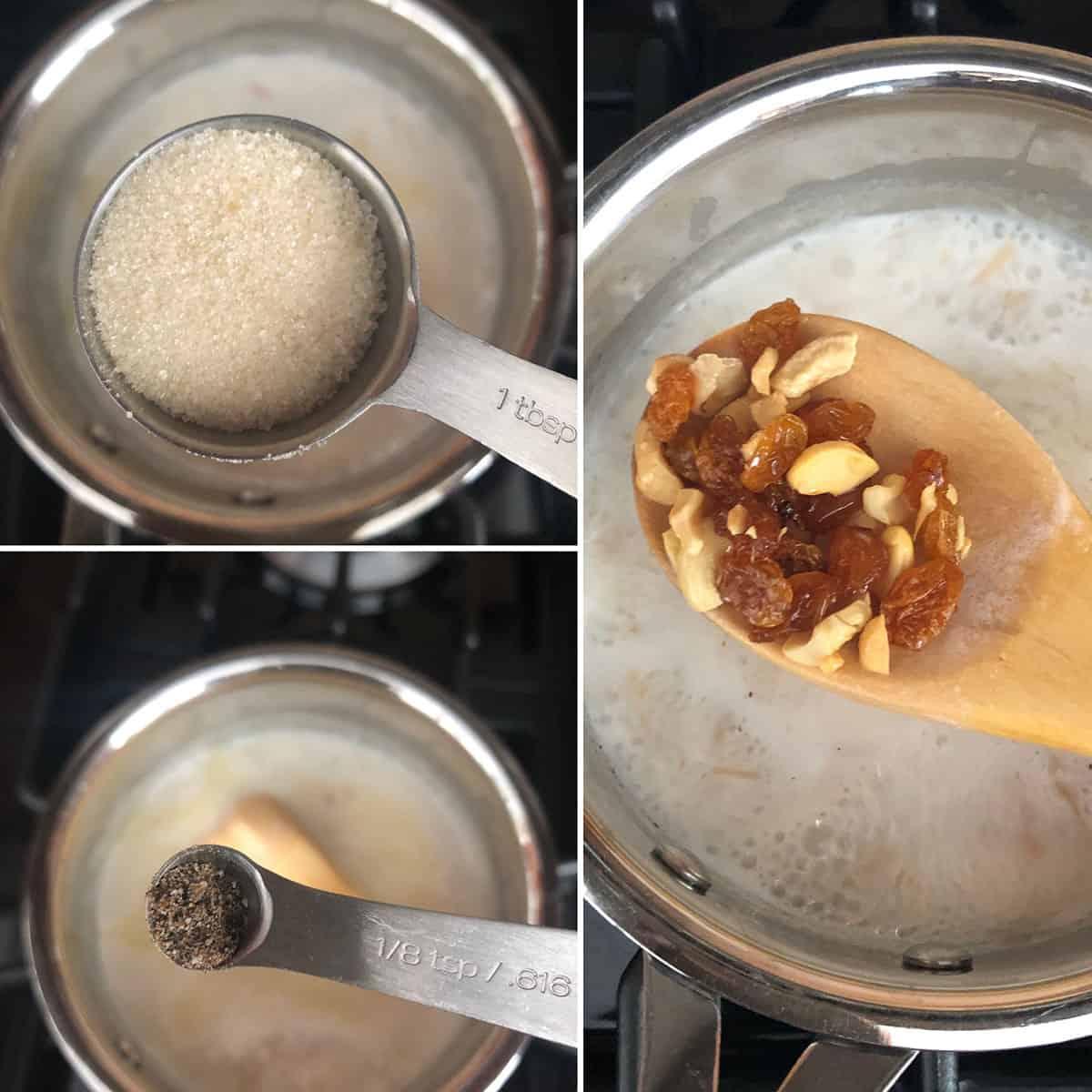 Add sugar, cardamom and fried nuts into semya
